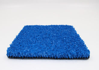 China PE Fibrillated 10 mm Gym Blue Artificial Grass Crossfit 8800 Dtex Non Infill supplier